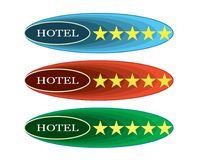 Five - Stars - Hotel - 10 - 14. Symbolic sign for five-star hotels. The figure has an elliptical shape with the inscription HOTEL and five yellow stars. The royalty free illustration