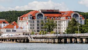 Five stars luxurious Sheraton Sopot. Part of the Starwood Hotels & Resorts chain, built in 2008.  Modern design of the hotel refers to the local architectural Stock Photography