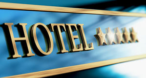Five Stars Luxury Hotel Sign or Header Stock Photo