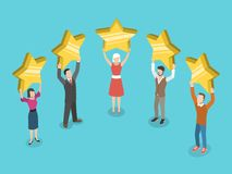 Five stars rating flat isometric vector concept. People are holding stars over the heads Royalty Free Stock Image