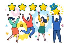 Five stars rating flat style vector concept. Concept of Feedback consumer or customer review evaluation, satisfaction level and critic. Five stars rating flat vector illustration