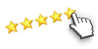 Five stars rating. Hand cursor. Stock Photography