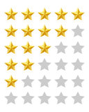 Five stars rating. Isolated on white background Royalty Free Stock Photos