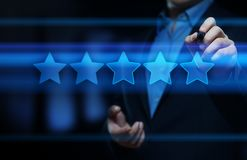 5 Five Stars Rating Quality Review Best Service Business Internet Marketing Concept Stock Photos