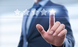 5 Five Stars Rating Quality Review Best Service Business Internet Marketing Concept.  royalty free stock image