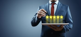 5 Five Stars Rating Quality Review Best Service Business Internet Marketing Concept royalty free stock photo