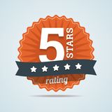 Five stars rating sign in flat style. Stock Photo