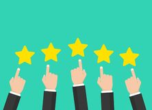 Five stars rating. Star icon. Feedback consumer or customer review evaluation banner, satisfaction level and critic icon. Concept. Vector illustration. Stars vector illustration