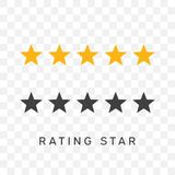 Five stars rating in yellow and black silhouette color. Symbol of decoration, award, quality, rating. Flat style for design, web, logo or UI Stock Images