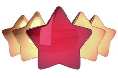 Five stars in a row one red four golden. Award top quality excellent symbol concept. 3d illustration isolated royalty free illustration