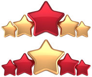 Five stars service gold red leadership award. Five stars service gold red golden leadership award success decoration. Best competition top excellent quality stock illustration