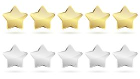 5 stars - golden and silver. Five stars with shadow golden and silver vector file Stock Illustration