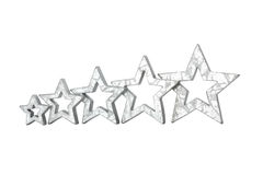 Five stars silver isolated white Royalty Free Stock Photos