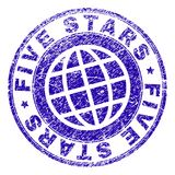 Grunge Textured FIVE STARS Stamp Seal royalty free illustration