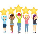 Five Stars Women. Five young women holding stars review rating service product concept royalty free illustration
