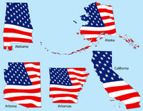 Five States with Flags Royalty Free Stock Images