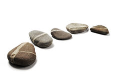 Five Step-Stones. Five stepping stones with white stripes layed in a curve Stock Photography