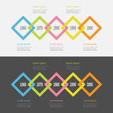 Five step Timeline Infographic set. Colorful big rhombus square segment. Template. Flat design. Black White background. Isolated. Stock Images