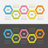 Five step Timeline Infographic set. Colorful 3D big polygon segment. Template. Flat design. Black White background. . Stock Photography