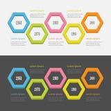 Five step Timeline Infographic set. Colorful 3D big polygon segment. Template. Flat design. Black White background. . Vector illustration Stock Photography