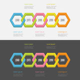 Five step Timeline Infographic set. Colorful 3D polygon line chain segment. Template. Flat design. Black White background. Isolate. D. Vector illustration Royalty Free Stock Photos