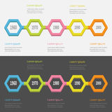Five step Timeline Infographic set. Colorful 3D polygon line segment. Template. Flat design. Black White background. . Royalty Free Stock Image