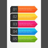 Five steps horizontal colorful banners. Vector illustration Royalty Free Stock Photography