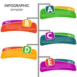 Five steps infographic design elements. Step by step infographic design template. Vector illustration Stock Illustration