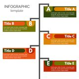 Five steps infographic design elements. Step by step infographic design template. Vector illustration Stock Photos