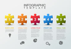 Five steps infographic with puzzle pieces. Vector puzzle Infographic report template made from colorful jigsaw pieces, icons and description text Royalty Free Stock Images