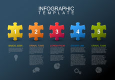 Five steps infographic with puzzle pieces. Vector puzzle Infographic report template made from colorful jigsaw pieces, icons and description text - dark version Stock Photography