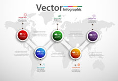 Five steps infographics with colorful circles Royalty Free Stock Image