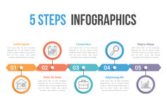 Five Steps Infographics. Process diagram, can be used as workflow, options, timeline Stock Images