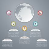 Five steps vector 3D infographic template with world map. Stock Photography