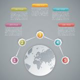 Five steps vector 3D infographic template with world map.  Royalty Free Stock Photos