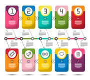 Five Steps Vector Infographic Design. With Colorful Paper Labels and Icons. Data Flow Chart Concept. Timeline Infographics Template stock illustration