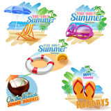 Five stickers for summer Stock Images