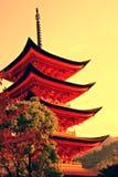 Five-storey pagoda. In Miyajima, Japan royalty free stock photo