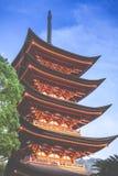 Five-storey pagoda in Miyajima, Japan Stock Photo