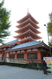 Five storey pagoda of sensoji temple Stock Photos