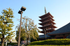 Five-storey pagoda at Sensoji Temple in Tokyo Royalty Free Stock Photo