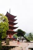 Five-storied Pagoda (Gojunoto) on Miyajima Island. Miyajima, Japan - May 6, 2016: Five-storied Pagoda (Gojunoto) on Miyajima Island. Miyajima island is a famous royalty free stock images