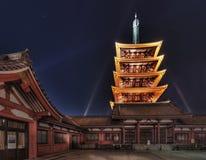 Five Storied Pagoda at Senso-ji Temple, Asakusa, Tokyo, Japan. Five storied pagoda of the Senso-ji Temple, taken at night, in the Asakusa district of Tokyo Stock Photo