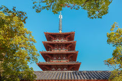 Five SToried Pagoda at Shitennoji Temple in Osaka Stock Photo