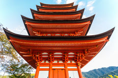 Five-storied Pagoda at Toyokuni Shrine in Miyajima Stock Images