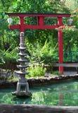 Stone decorative pagoda in japanese garden stock photo