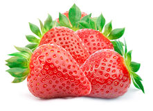 Five strawberries with leaves isolated Stock Photo