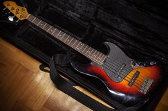 Five Strings Jazz Bass. Guitar in soft case royalty free stock photography