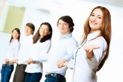 Five students smiling Royalty Free Stock Images