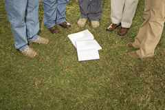 Five students stood outdoors Stock Image